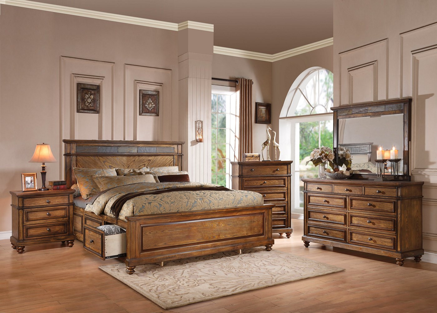 Rustic Bedroom Set King  Abilene Rustic 4 pc King Storage Bed Set with Stone Accent