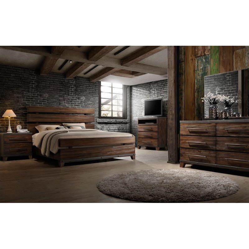 Rustic Bedroom Set King  Modern Rustic Brown 6 Piece King Bedroom Set Forge
