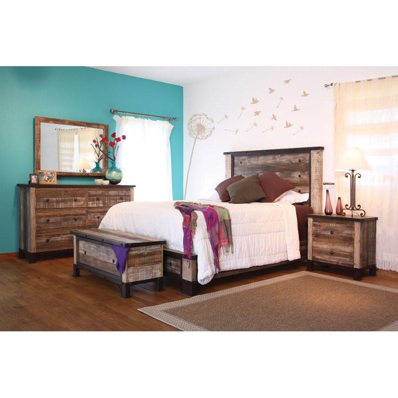 Rustic Bedroom Set King  Rustic 6 Piece King Bedroom Set Antique