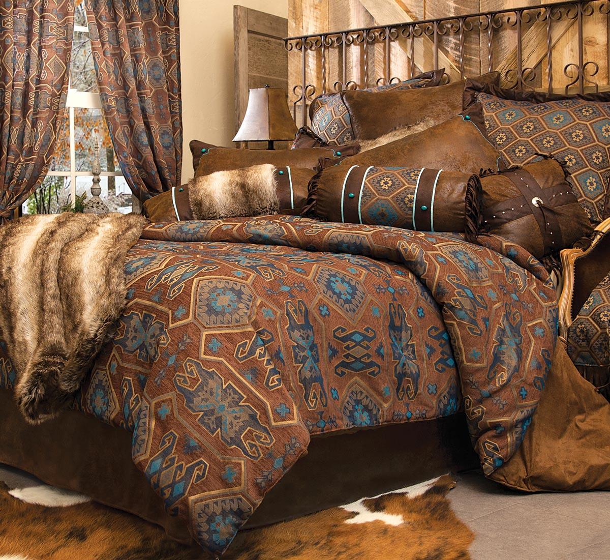 Rustic Bedroom Set King  Rustic Bedding King Size Turquoise Mesa Bed Set Black