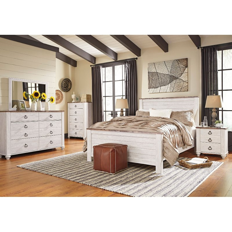 Rustic Bedroom Set King  Classic Rustic Whitewashed 6 Piece King Bedroom Set