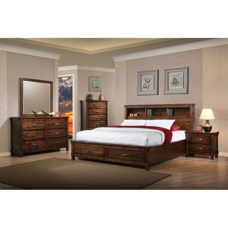 Rustic Bedroom Set King  Rustic Classic Brown 4 Piece King Bedroom Set Jessie