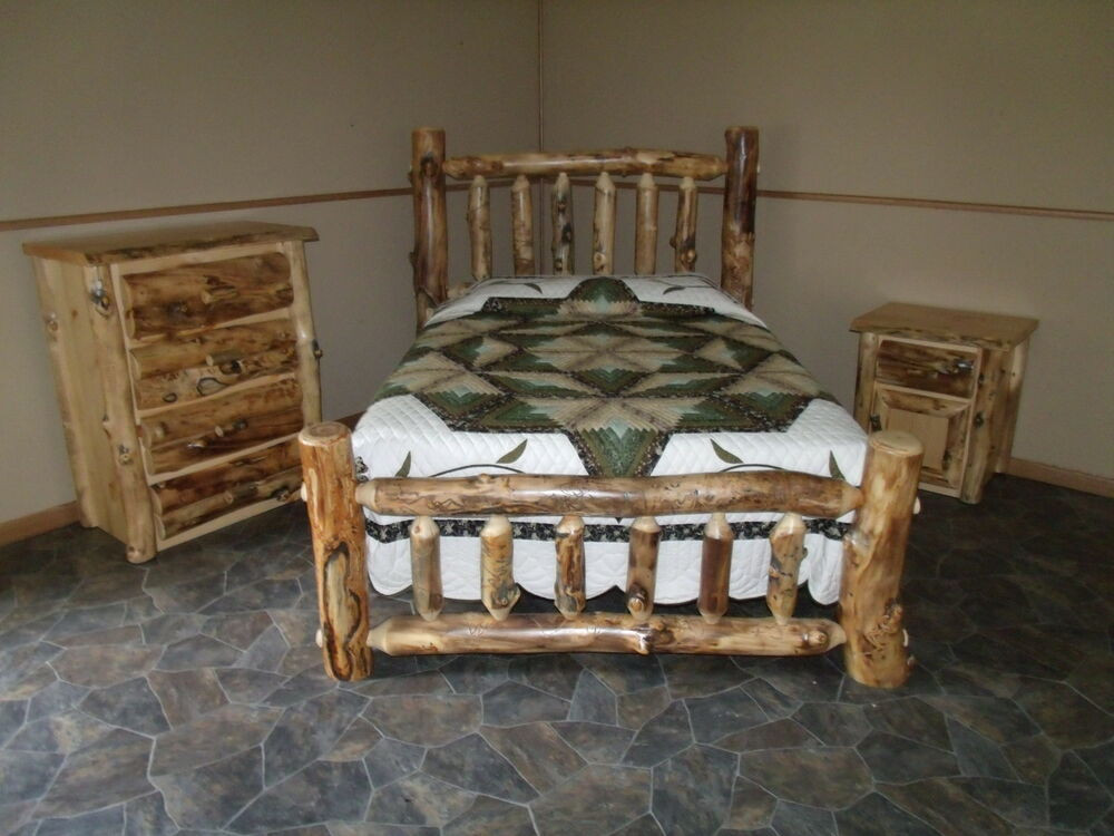 Rustic Bedroom Set King  Rustic Aspen Log BEDROOM SET KING plete Bed 4 Drawer