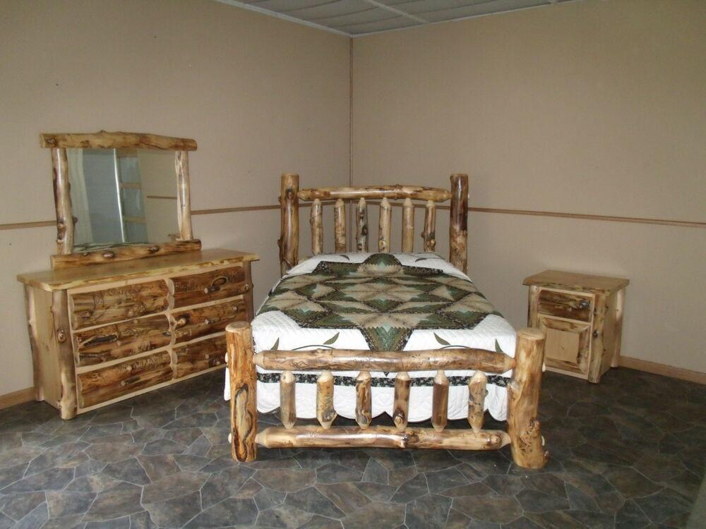 Rustic Bedroom Set King  Rustic Aspen Log BEDROOM SET KING plete Bed Dresser