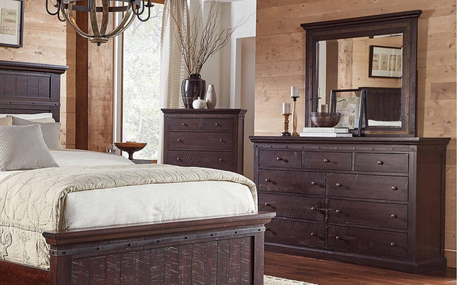Rustic Bedroom Set King  Rustic King Panel Bedroom Set 4Pcs Mahogany JACRY5130 A