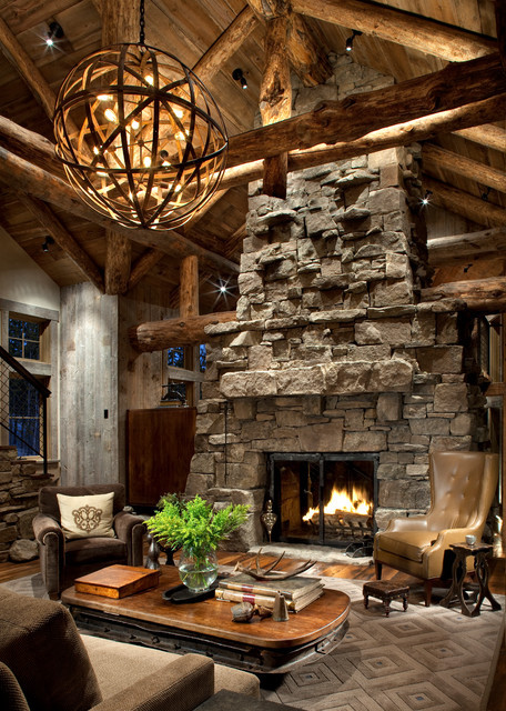 Rustic Living Room Photos  Great Room Fireplace Rustic Living Room Atlanta by