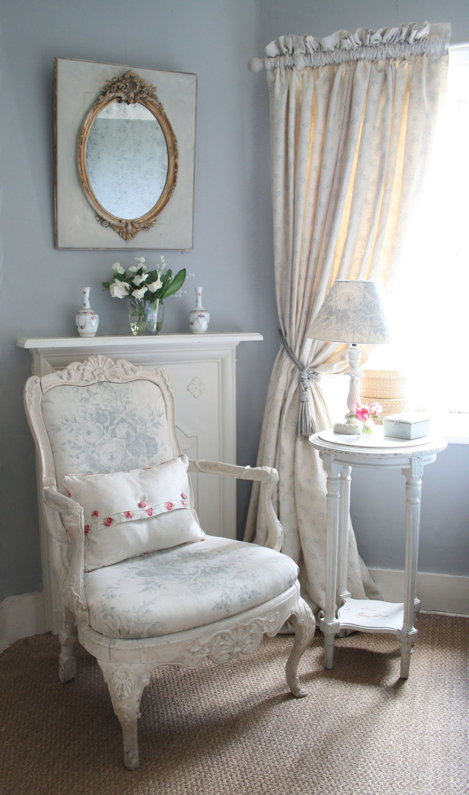 Shabby Chic Bedroom Chair  smokey blue grey with creamy chair in pretty floral note