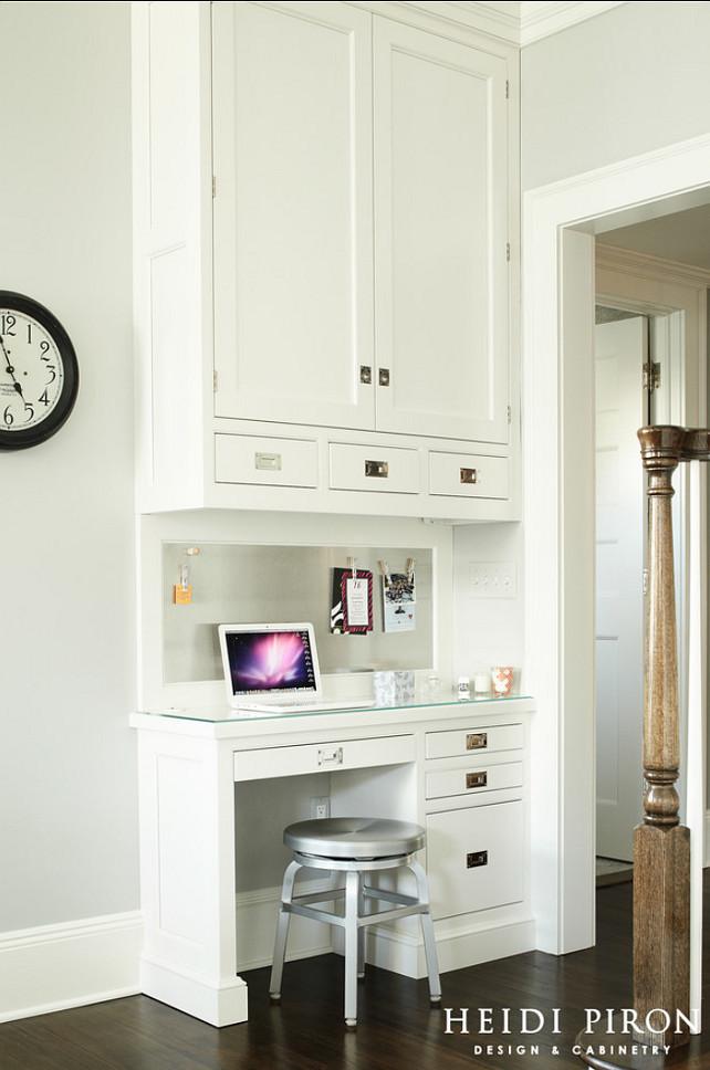 Small Kitchen Desk  Transitional White Kitchen Home Bunch Interior Design Ideas