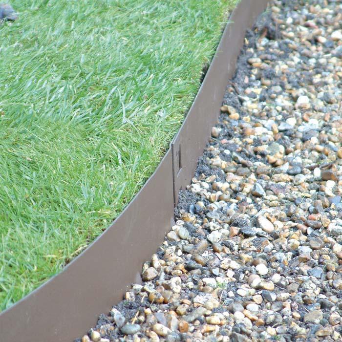 Steel Landscape Edging  Brown Flexible Steel Lawn Edging Harrod Horticultural UK
