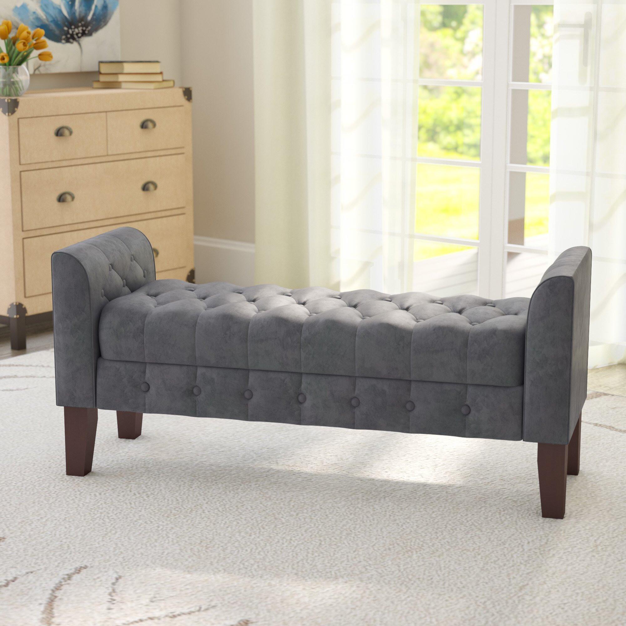 Storage Bench Bedroom  Three Posts Aimee Upholstered Storage Bedroom Bench