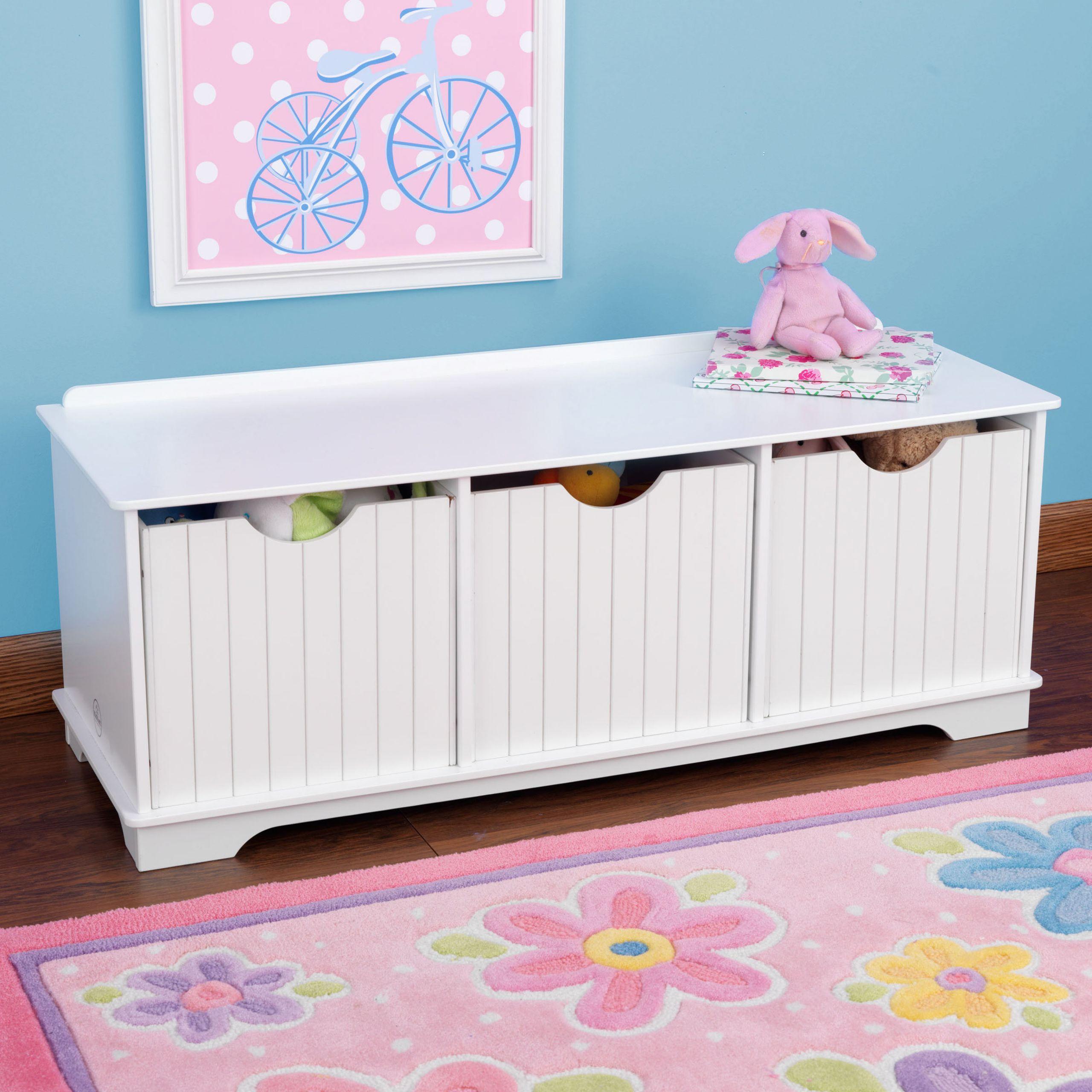 Storage Bench Kids  Nantucket Storage Bench White children s toys in South