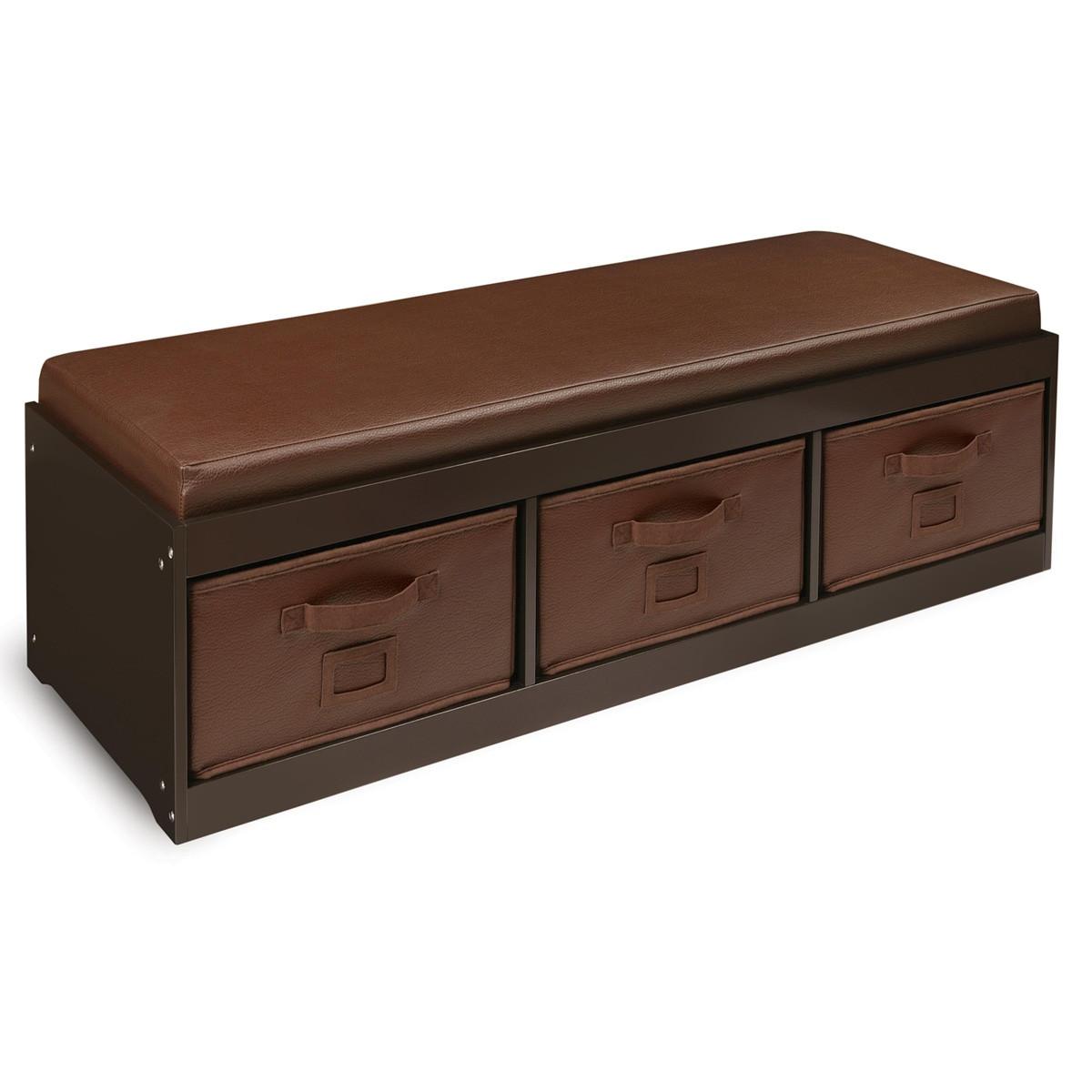Storage Bench Kids  Shop Espresso Kid s Storage Bench with Espresso Bins