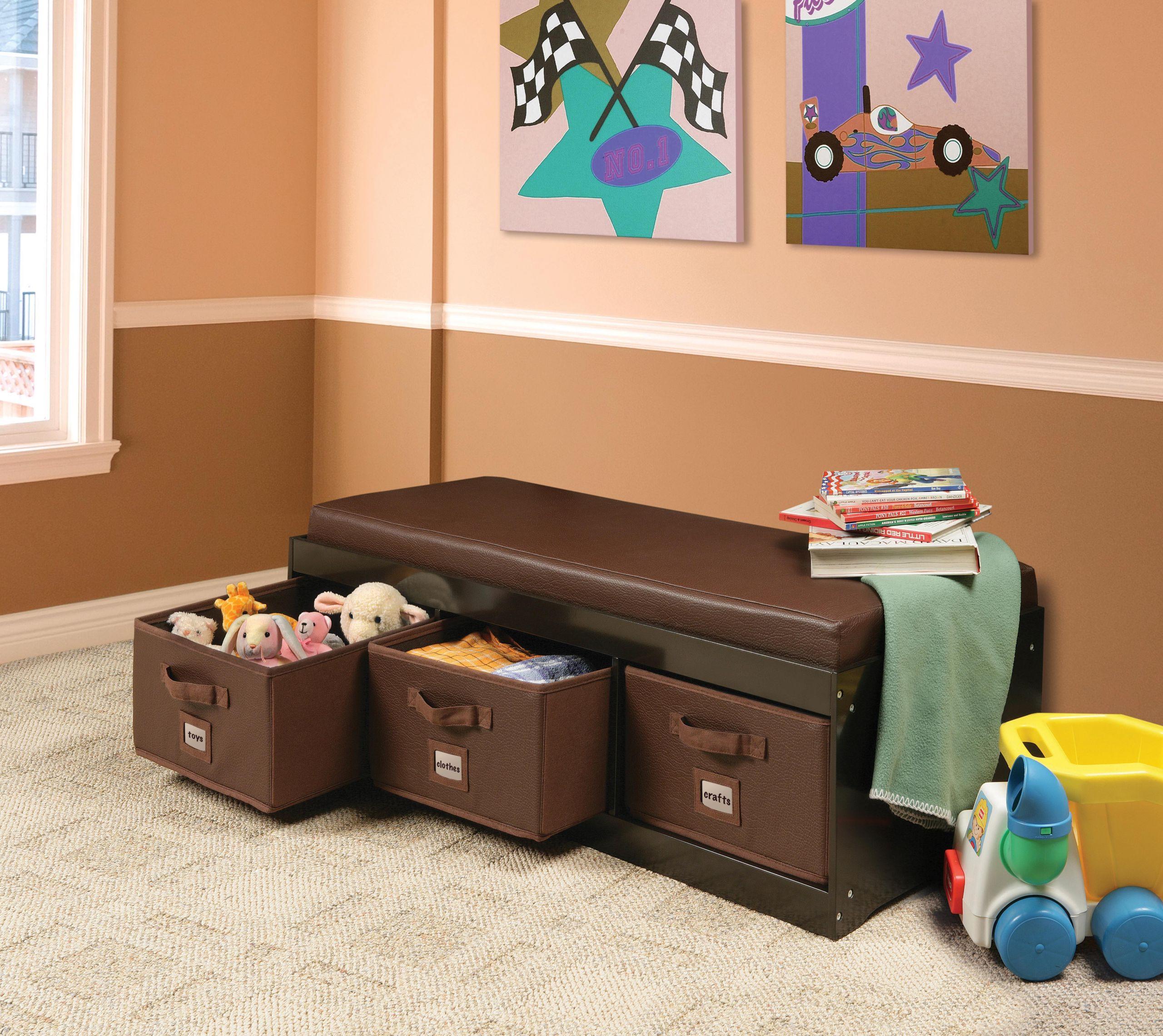 Storage Bench Kids  Amazon Kid s Cushioned Storage Bench with 3 Basket