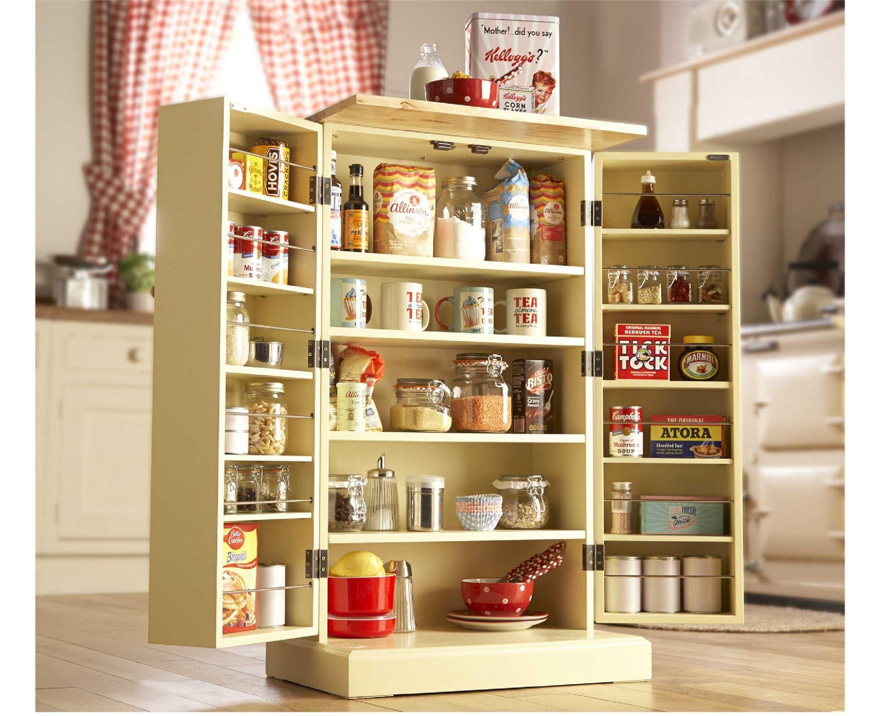 Storage Cabinet Kitchen  Freestanding Larder Wooden Cupboard Buttermilk Kitchen