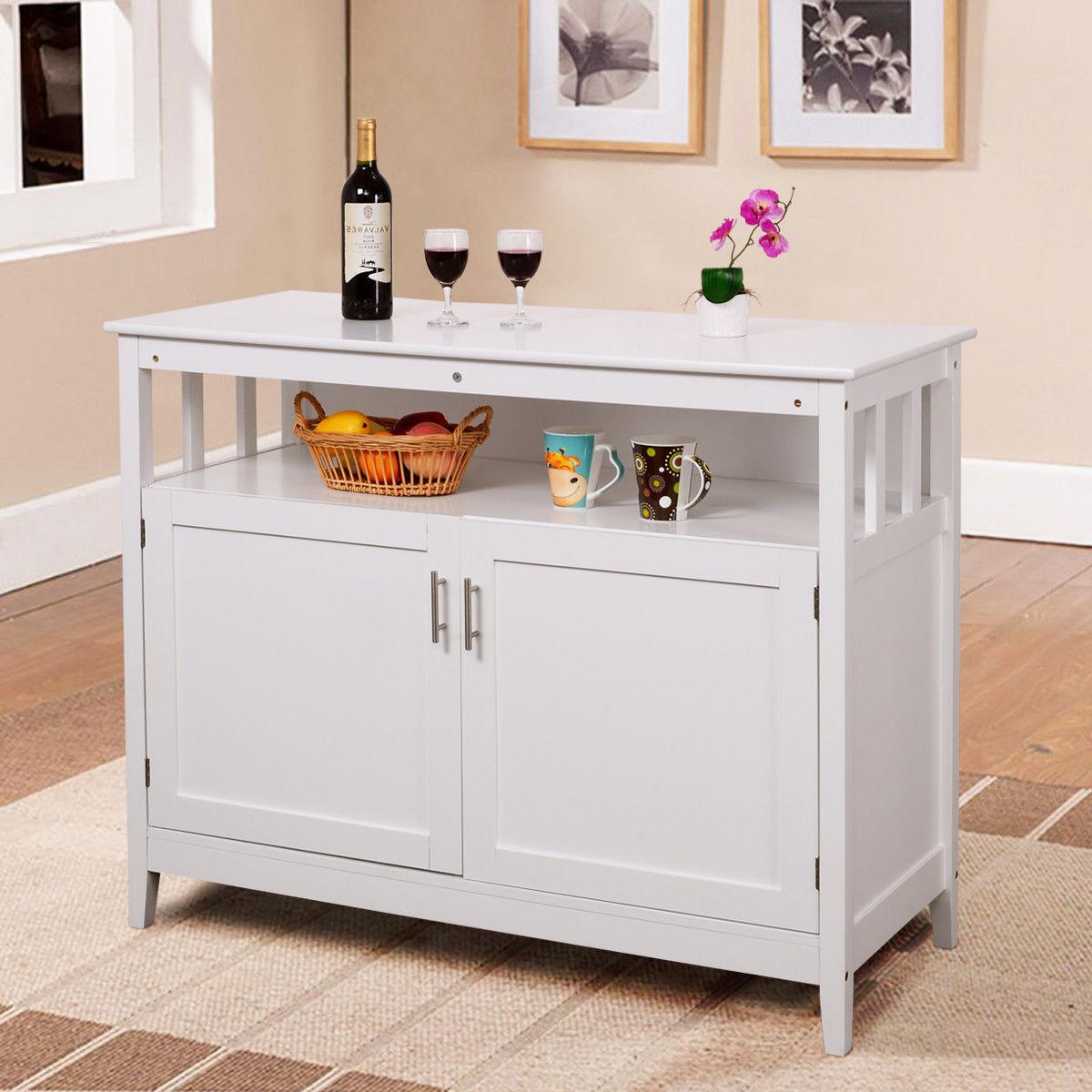 Storage Cabinet Kitchen  GHP White MDF & Pine Wood Modern Space Saving Kitchen
