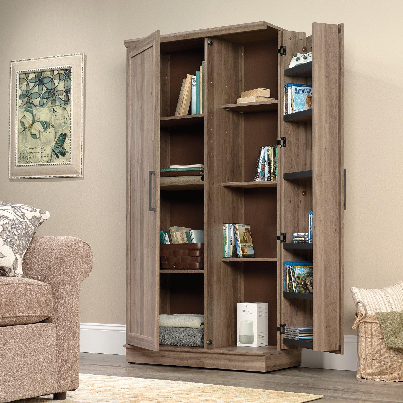 Storage Cabinet Kitchen  Sauder Homeplus Pantry Storage Cabinet Salt Oak