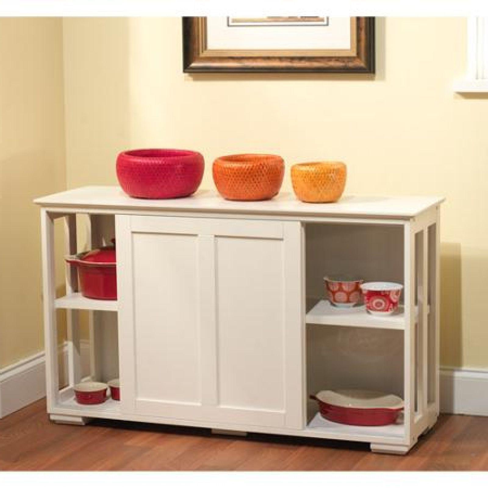 Storage Cabinet Kitchen  White Kitchen Storage Cabinet Stackable Sliding Door Wood