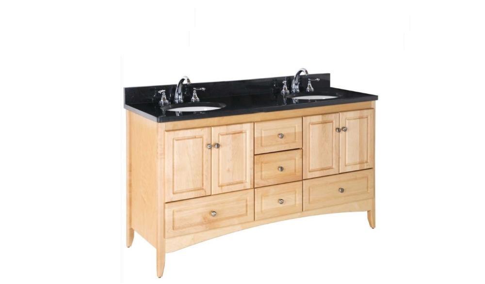 "Strasser Bathroom Vanities  Strasser Woodenworks 60"" Ravenna Double Sink Vanity 7"