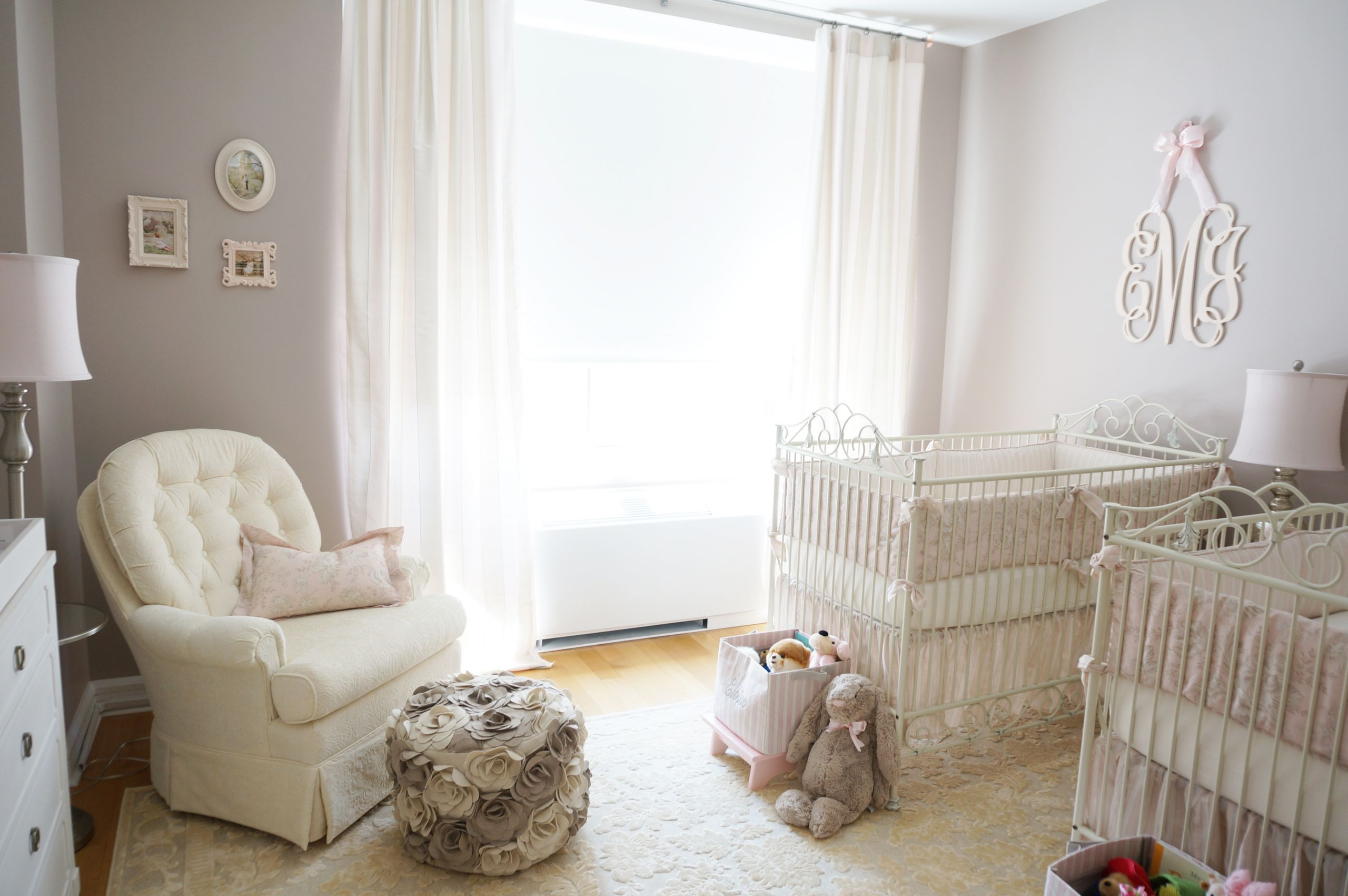 Twins Baby Room Decorating Ideas  Pink Ivory and Grey Twin Girls Nursery Project Nursery