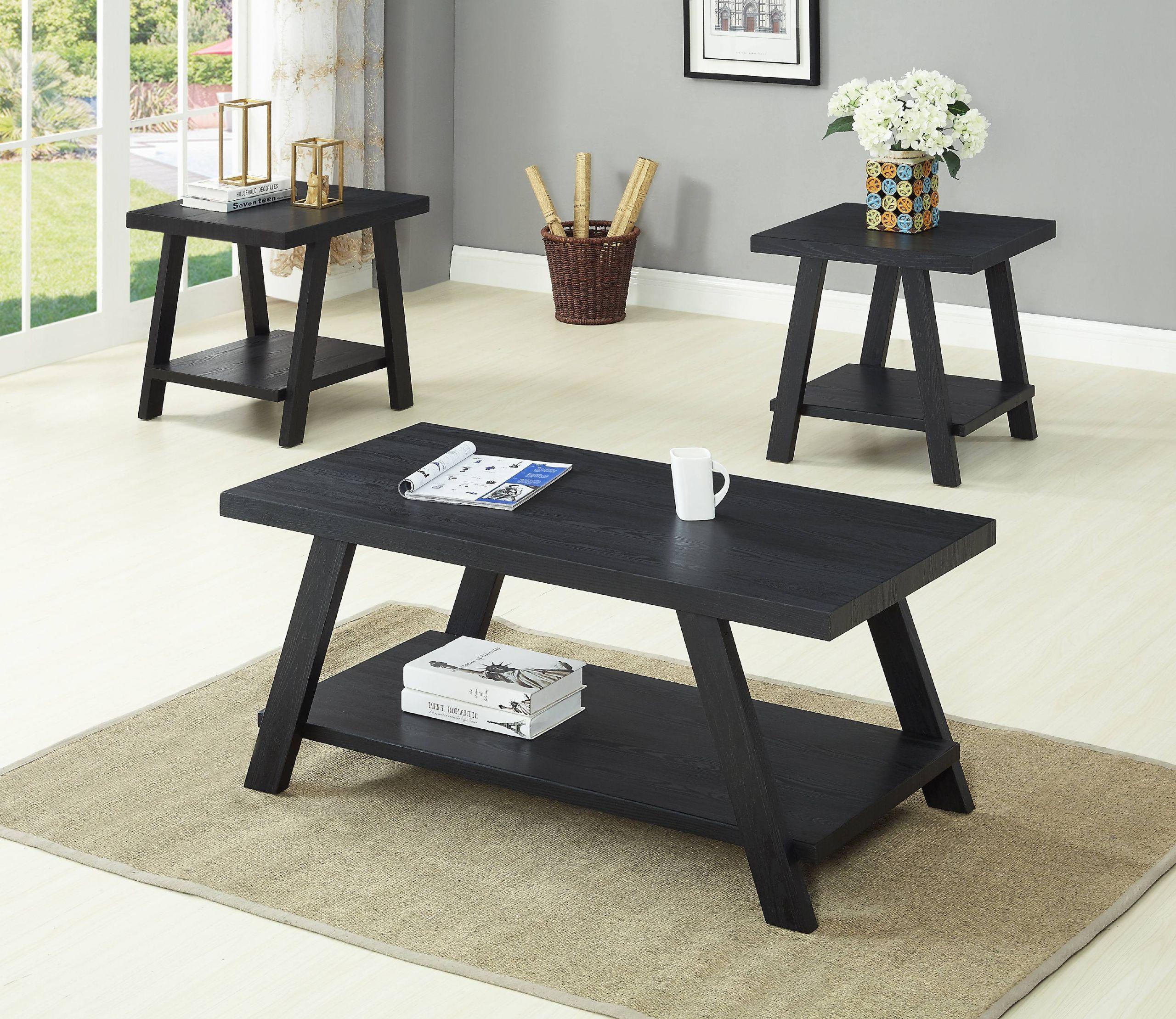 Walmart Living Room Table Sets  GTU Furntiure 3Pc Modern Black Cocktail Living Room Coffee