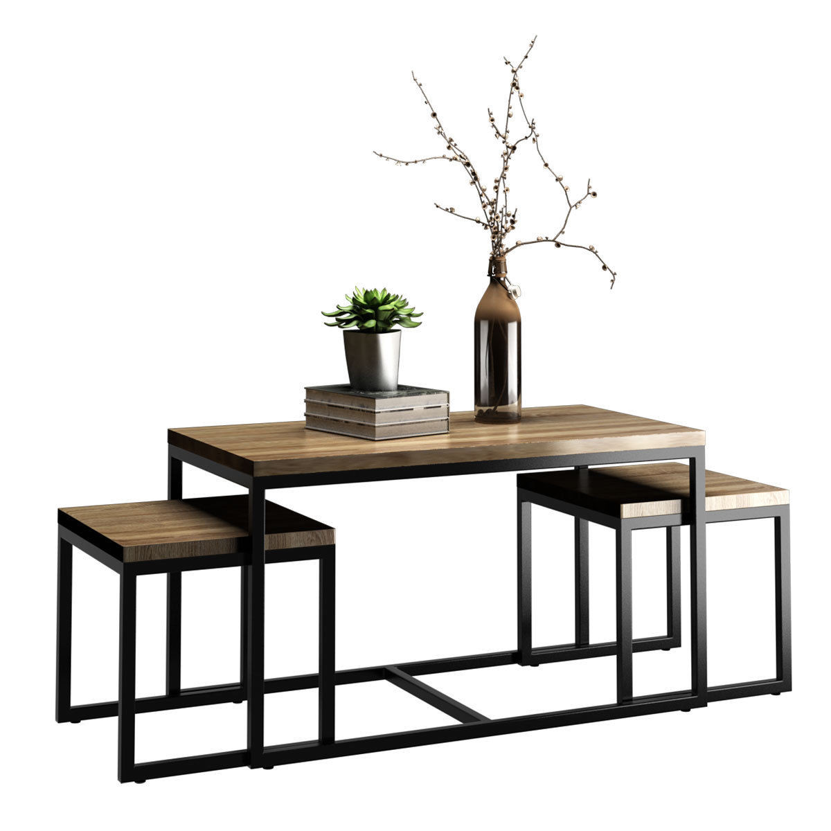 Walmart Living Room Table Sets  Costway 3 Piece Nesting Coffee & End Table Set Wood Modern