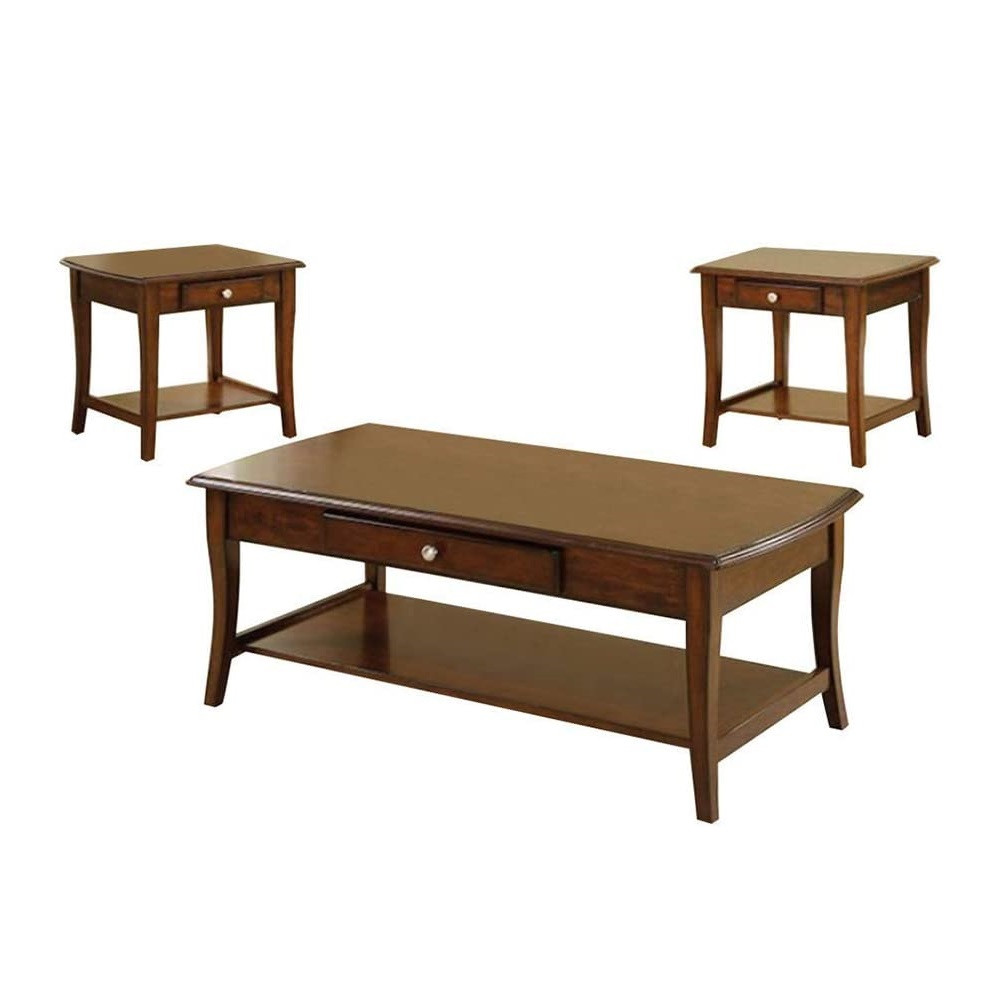 Walmart Living Room Table Sets  3 Pc Living Room Table Set Dark Oak Walmart