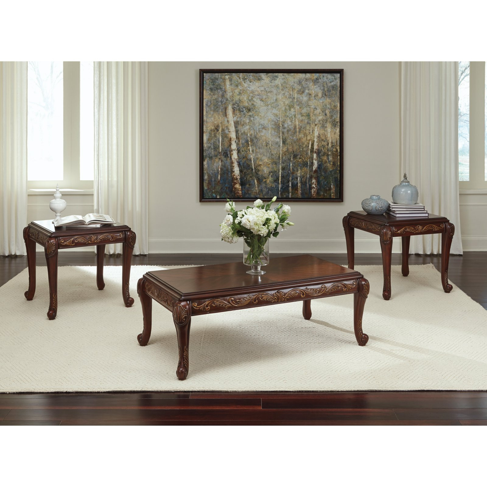 Walmart Living Room Table Sets  Signature Design by Ashley Florrilyn 3 Piece Coffee Table