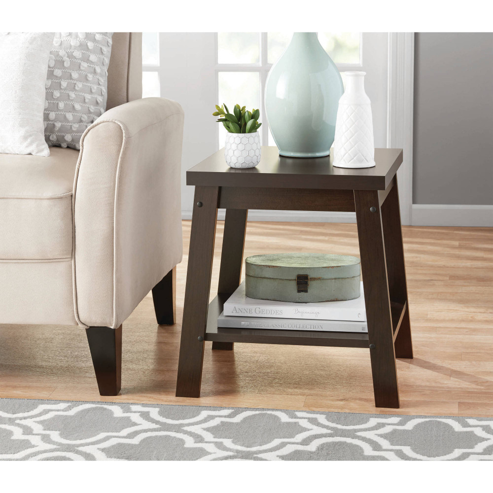 Walmart Living Room Table Sets  Mainstays Logan Side Table Espresso Finish Walmart