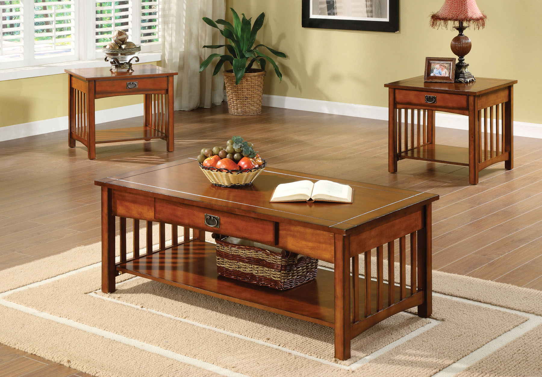 Walmart Living Room Table Sets  Seville Mission Style Oak Finish Three Piece Living Room