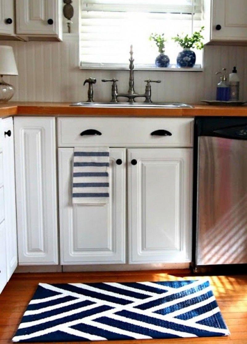 White Kitchen Rugs  Navy Blue Kitchen Area Rug For Modern Kitchen Design With