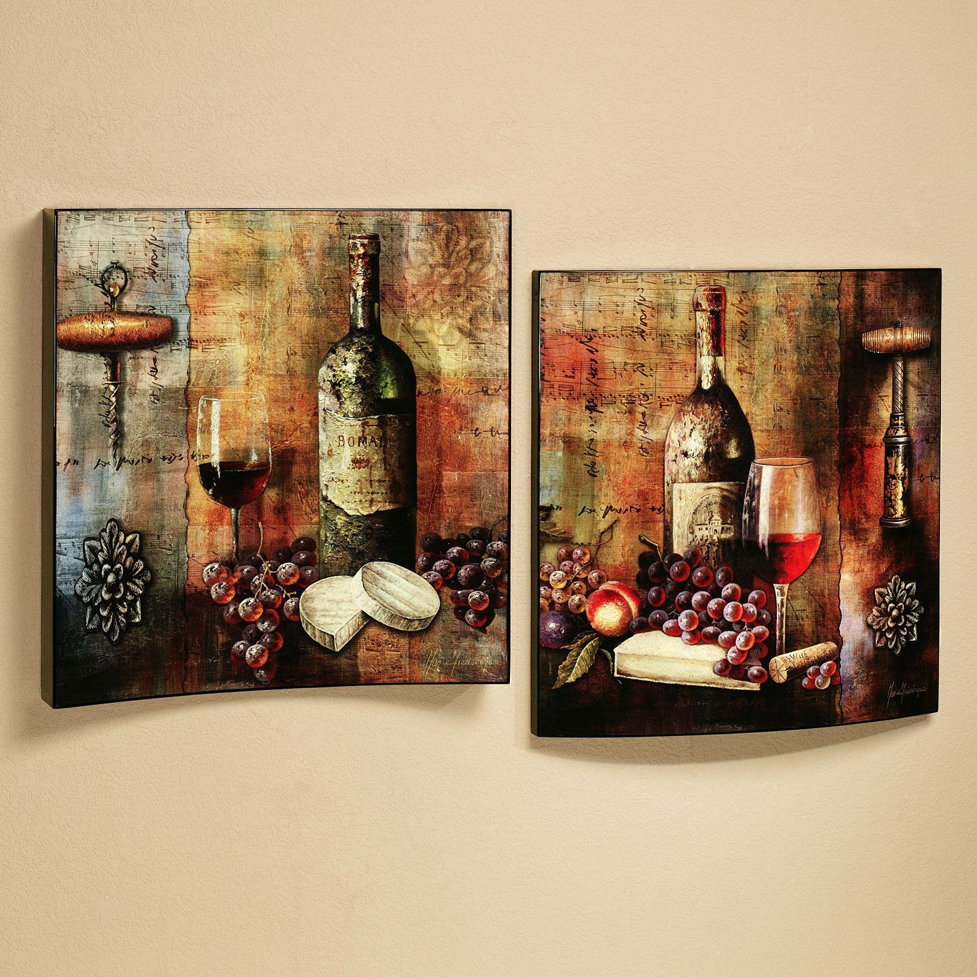 Wine Wall Decor for Kitchen Elegant Vineyard Wine Tasting Wall Art Set Multi Jewel Set Of Two
