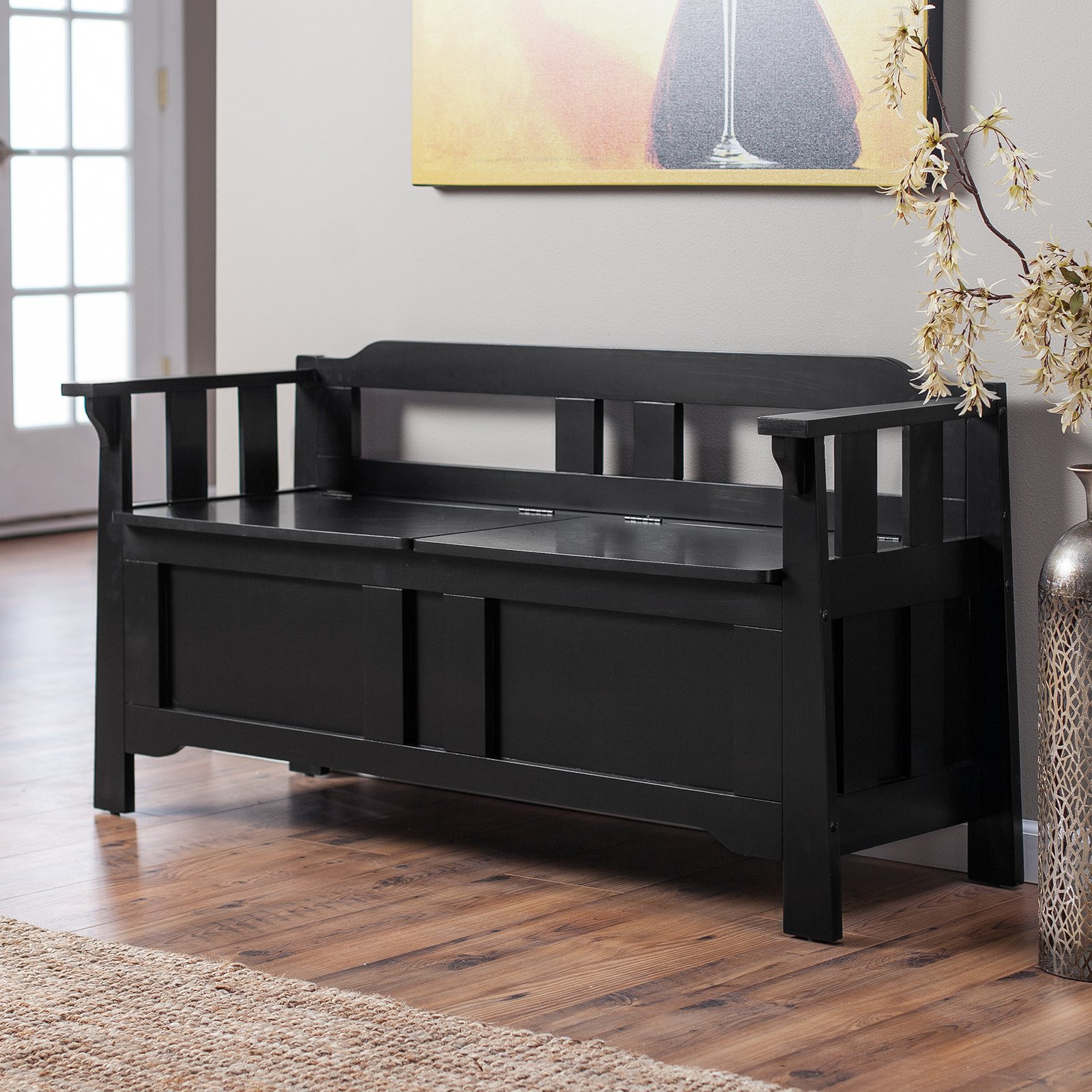 Black Bench with Storage Luxury Parker Storage Bench Black Bedroom Benches at Hayneedle