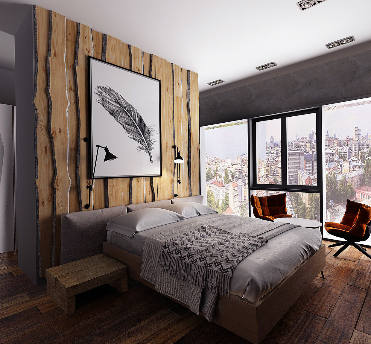 Rustic Contemporary Bedroom  Three Homes with a Contemporary Twist on Rustic Design