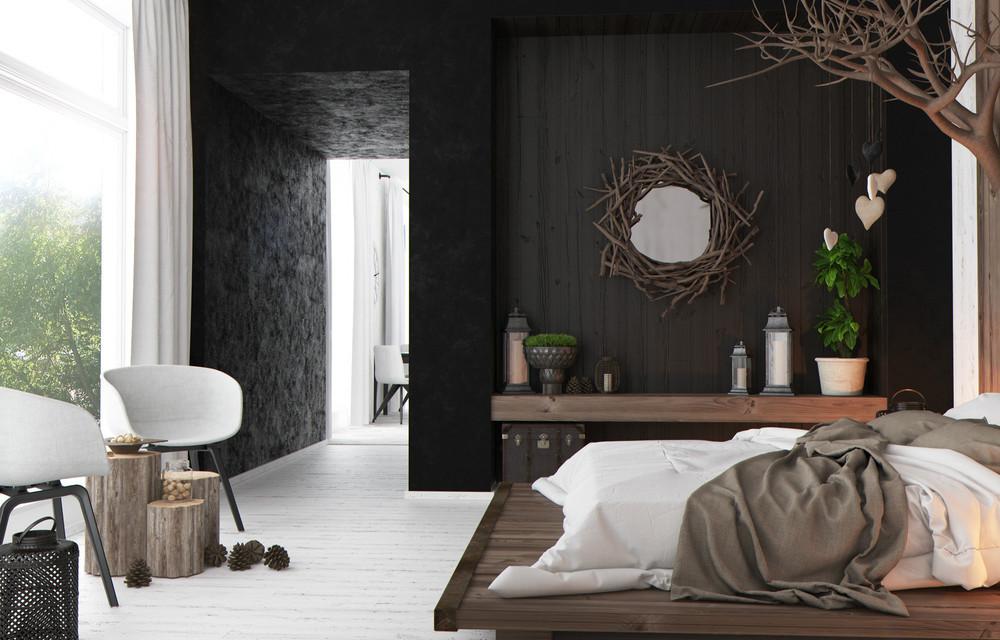 Rustic Contemporary Bedroom  rustic modern bedroomInterior Design Ideas